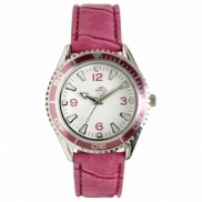 Liberty - Unisex silver-tone watch with pink bezel and strap