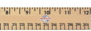 "12"" Clear Lacquer Wood Ruler - English & Metric Scale"